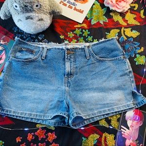 Lei Blue Denim Distressed Shorts